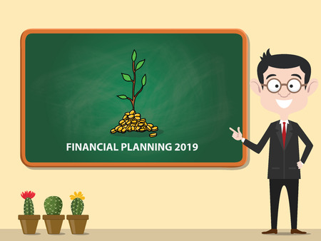 financial planning 2019 new year business resolution financing vector illustration