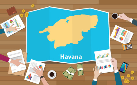 havana cuba capital city region economy growth with team discuss on fold maps view from top vector illustration