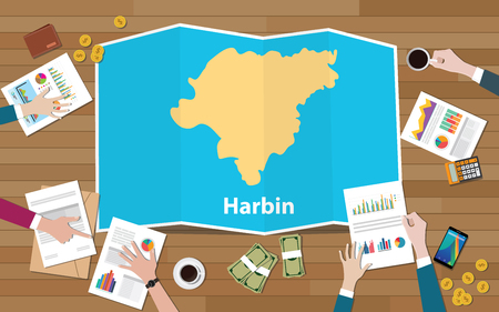 harbin capital heilongjiang province china city region economy growth with team discuss on fold maps view from top vector illustration Stock Illustratie
