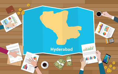 hyderabad india capital city region economy growth with team discuss on fold maps view from top vector illustration