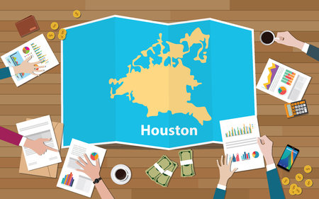 houston texas america city region economy growth with team discuss on fold maps view from top vector illustration