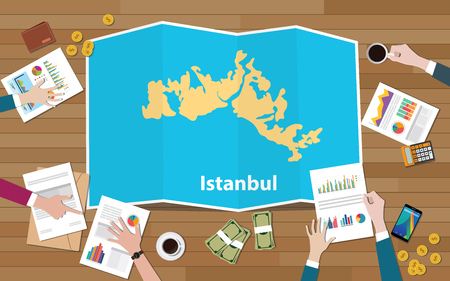 istanbul turkey capital city region economy growth with team discuss on fold maps view from top vector illustration