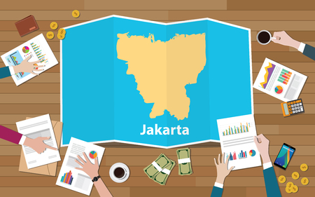 jakarta indonesia capital city region economy growth with team discuss on fold maps view from top vector illustration