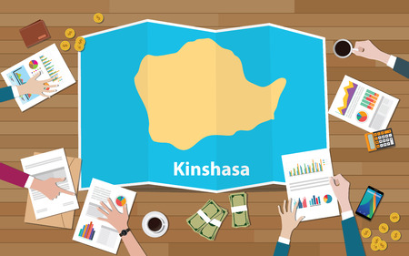 kinshasa congo republic capital city region economy growth with team discuss on fold maps view from top vector illustration 일러스트