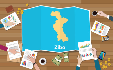 zibo shandong province china city region economy growth with team discuss on fold maps view from top vector illustration 일러스트