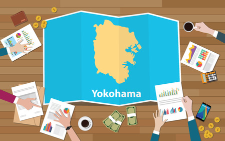 yokohama japan city region economy growth with team discuss on fold maps view from top vector illustration