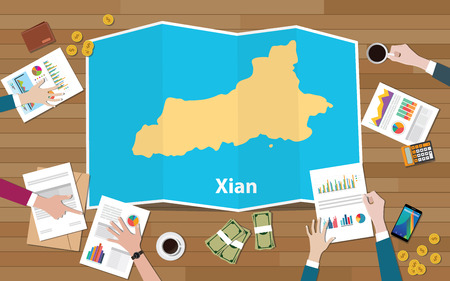xian shaanxi province china city region economy growth with team discuss on fold maps view from top vector illustration