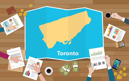 toronto ontario canadian city region economy growth with team discuss on fold maps view from top vector illustration