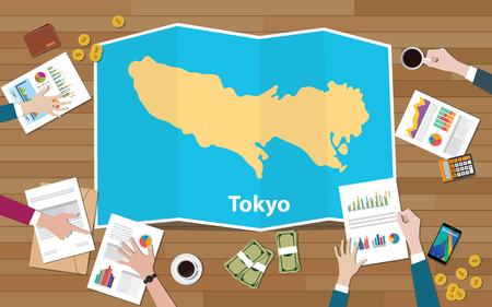 tokyo japan capital city region economy growth with team discuss on fold maps view from top vector illustration Çizim