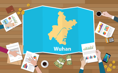 wuhan hubei china city region economy growth with team discuss on fold maps view from top vector illustration