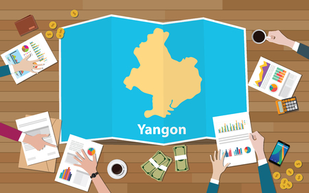 yangon rangoon myanmar city region economy growth with team discuss on fold maps view from top vector illustration