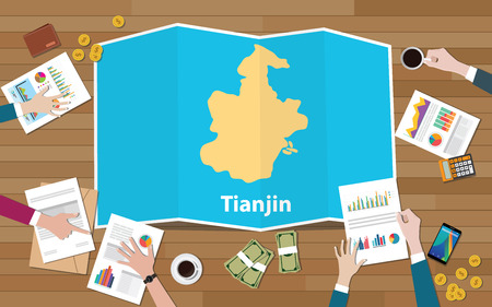 tianjin china city region economy growth with team discuss on fold maps view from top vector illustration