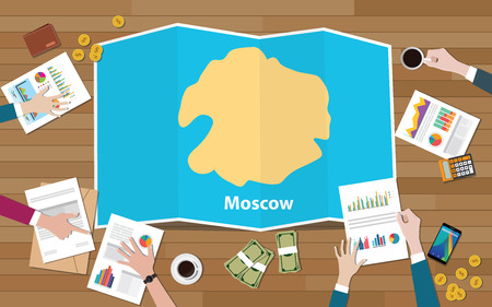 moscow russia capital city region economy growth with team discuss on fold maps view from top vector illustration 일러스트