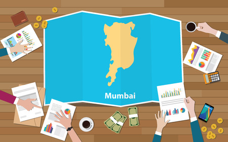 mumbai bombay india city region economy growth with team discuss on fold maps view from top vector illustration