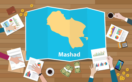 mashad meshad iran city region economy growth with team discuss on fold maps view from top vector illustration