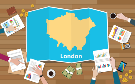 london england capital united kingdom city region economy growth with team discuss on fold maps view from top vector illustration