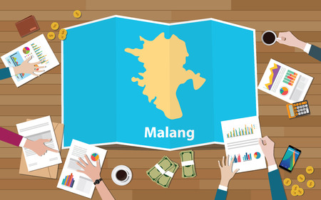 malang indonesia java city region economy growth with team discuss on fold maps view from top vector illustration
