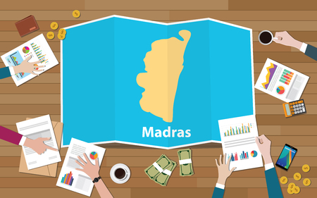 madras chennai india city region economy growth with team discuss on fold maps view from top vector illustration