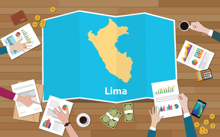 lima peru capital city region economy growth with team discuss on fold maps view from top vector illustration Foto de archivo - 117456605