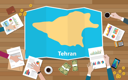 tehran iran capital city region economy growth with team discuss on fold maps view from top vector illustration 일러스트
