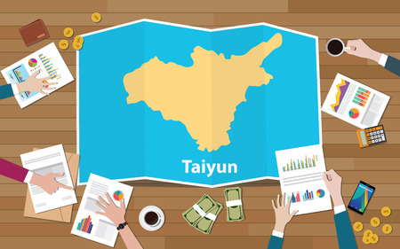taiyun taiyuan china city region economy growth with team discuss on fold maps view from top vector illustration