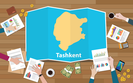 tashkent uzbekistan city region economy growth with team discuss on fold maps view from top vector illustration