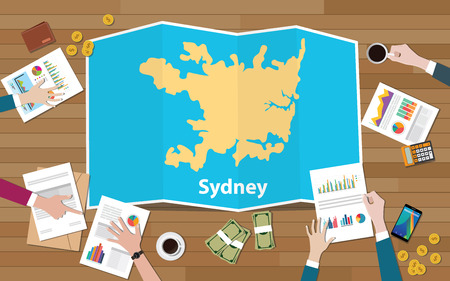 sydney australia capital city region economy growth with team discuss on fold maps view from top vector illustration