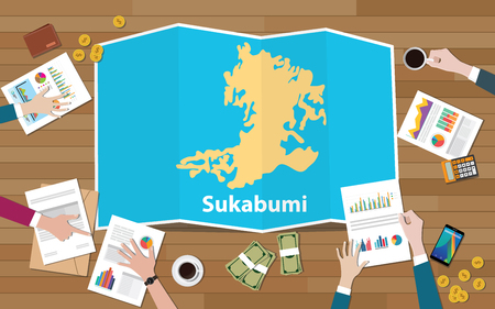 sukabumi indonesia west java city region economy growth with team discuss on fold maps view from top vector illustration Stockfoto - 127301501