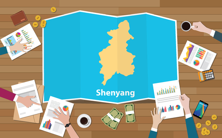shenyang china liaoning city region economy growth with team discuss on fold maps view from top vector illustration