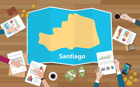 santiago philippine asia city region economy growth with team discuss on fold maps view from top vector illustration