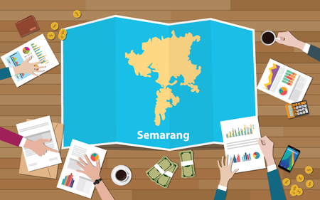 semarang indonesia java city region economy growth with team discuss on fold maps view from top vector illustration