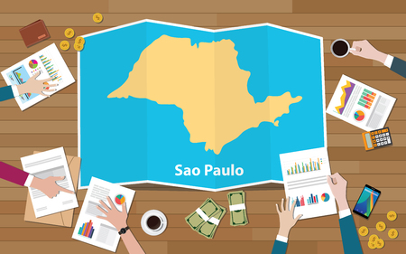 sao paulo brazil city region economy growth with team discuss on fold maps view from top vector illustration