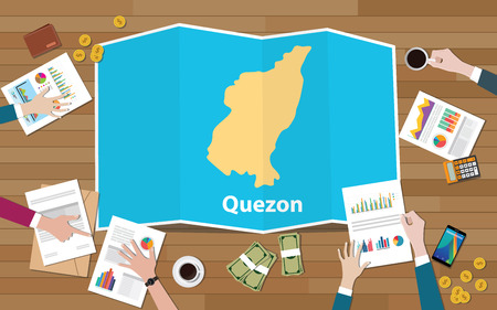 quezon philippines province city region economy growth with team discuss on fold maps view from top vector illustration