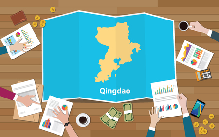 qingdao shandong province china city region economy growth with team discuss on fold maps view from top vector illustration 일러스트