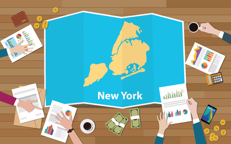 new york city usa america united states region economy growth with team discuss on fold maps view from top vector illustration