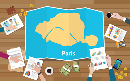 paris capital france city region economy growth with team discuss on fold maps view from top vector illustration