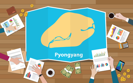 pyongyang north korea capital city region economy growth with team discuss on fold maps view from top vector illustration