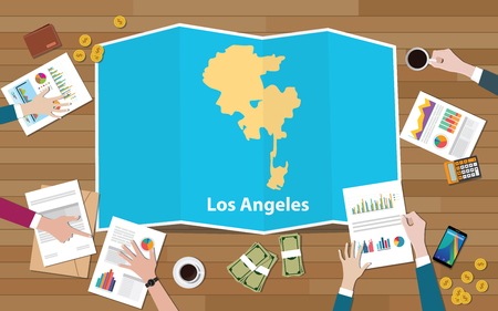 los angeles usa united states america city region economy growth with team discuss on fold maps view from top vector illustration Stock Illustratie
