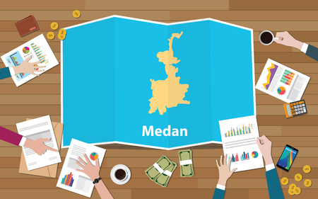 medan indonesia city region economy growth with team discuss on fold maps view from top vector illustration