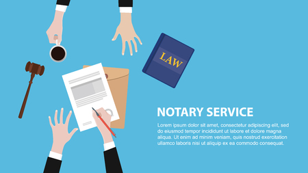 notary service concept banner with legal team discuss and signing paper document vector illustration Vektorové ilustrace