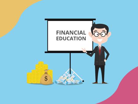 L'homme d'affaires financement expert donner l'illustration vectorielle de l'éducation financière Vecteurs