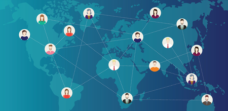 social media world connected people with line connecting around the world on top of world maps - vector illustration Stock Illustratie