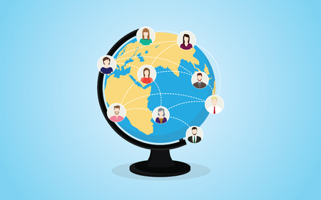 social media network with circle world and people icons connect with line dot - vector illustration