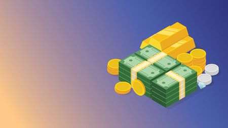 financial money cash management with stack of money and gold coin with free space for text - vector illustration
