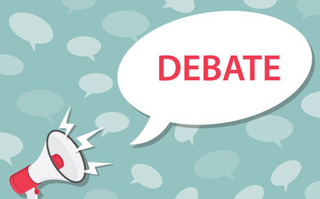 debate concept with loudspeaker and megaphone and bubble speech text - vector illustration