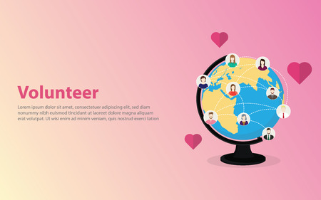volunteer concept with people happy icon around the world on the globe world map - vector illustration