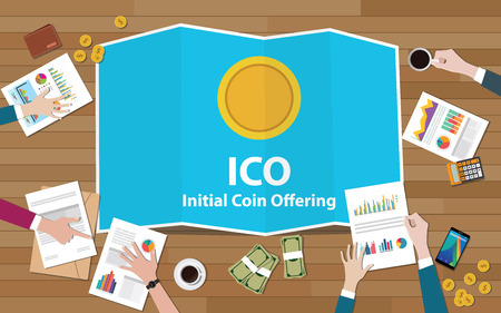 ico initial coin offering concept with business team working together on top of table with gold coin electronic money - vector illustration