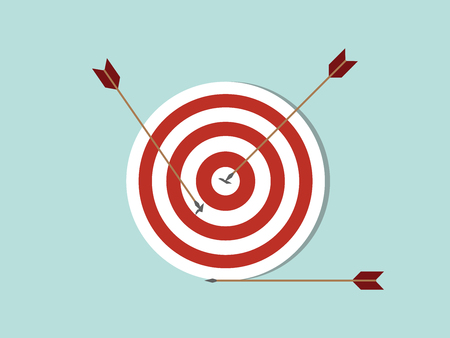 dart goals target business concept icon with arrow spread on target and off target with flat style - vector illustration
