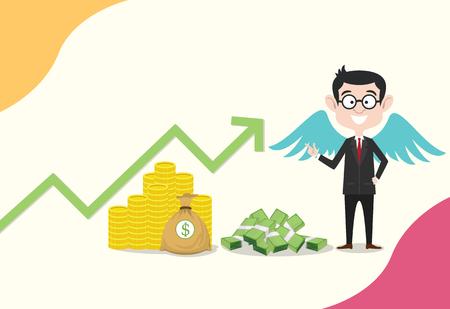 business angel business concept hommes avec aile sur le dos pour le financement de démarrage d'investissement - vecteur