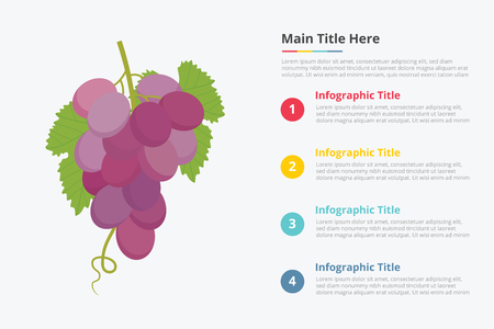 grapes fruit infographics with some point title description for information template - vector illustration Archivio Fotografico - 117995227